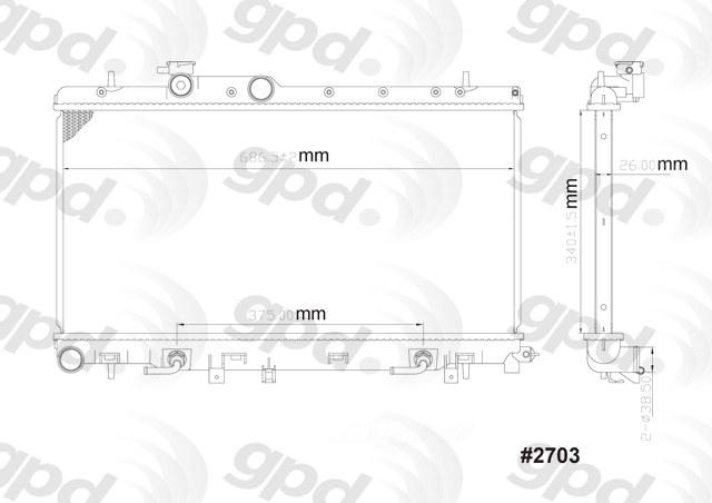 GLOBAL PARTS - Radiator - GBP 2703C