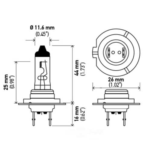 HELLA - Hella Cornering Light Bulb - HLA H7