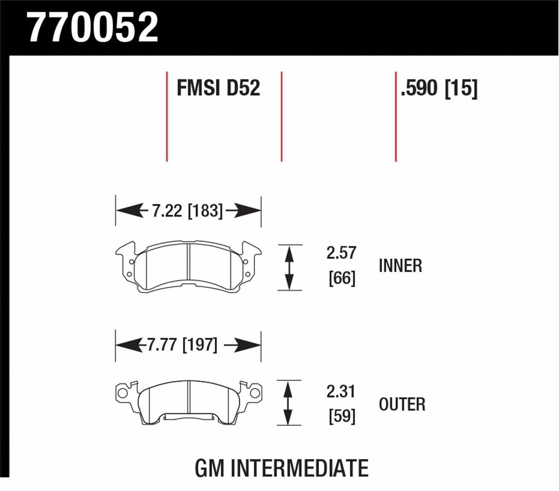 HAWK PERFORMANCE - Premium OES Disc Brake Pad - HWK 770052