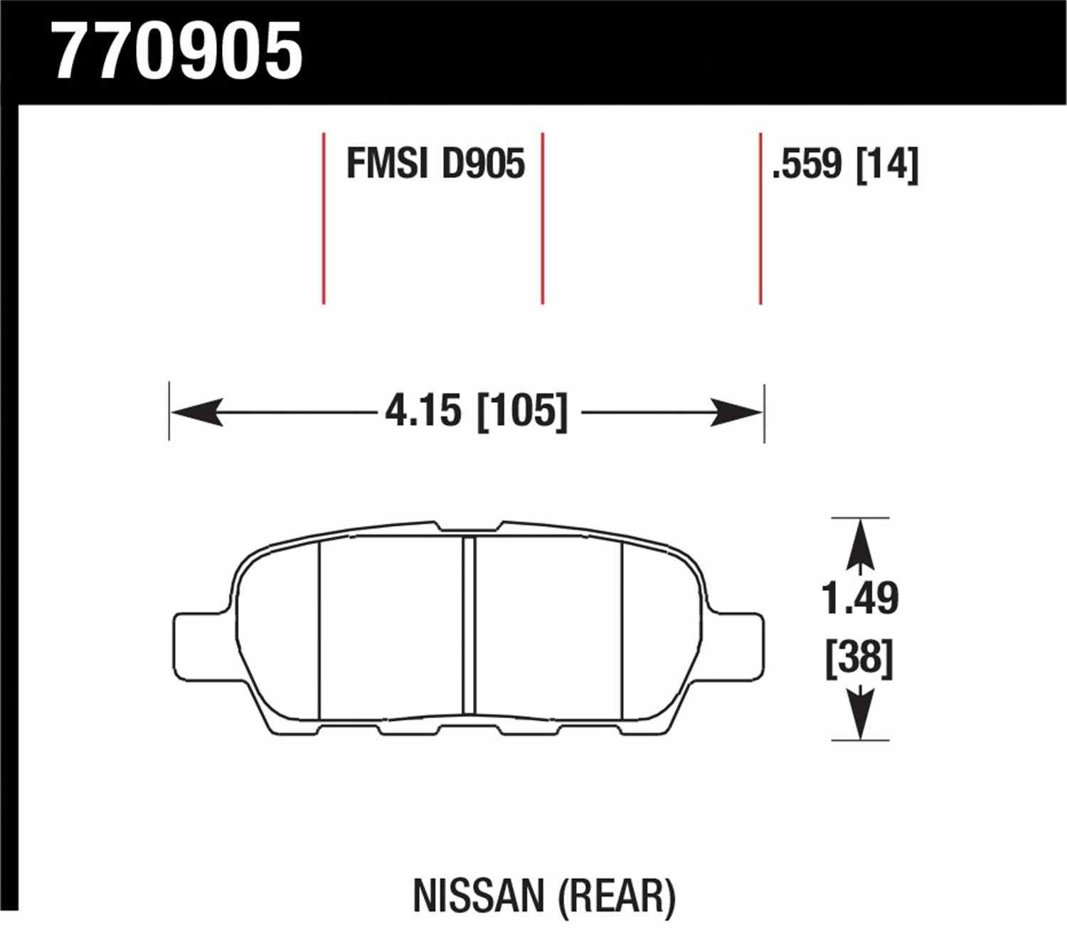 HAWK PERFORMANCE - Premium OES Disc Brake Pad (Rear) - HWK 770905