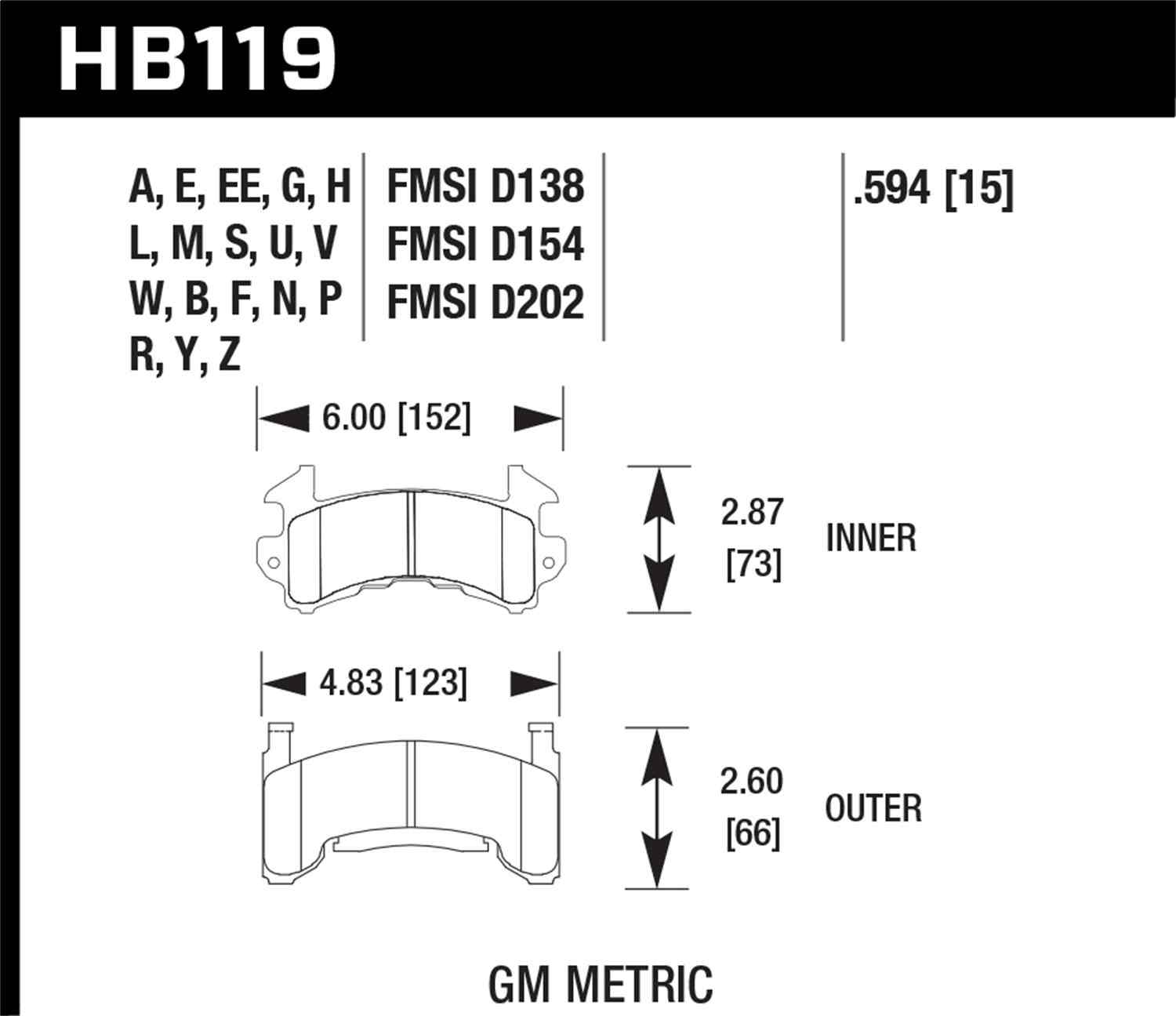 HAWK PERFORMANCE - HPS Performance Street Disc Brake Pad - HWK HB119F.594