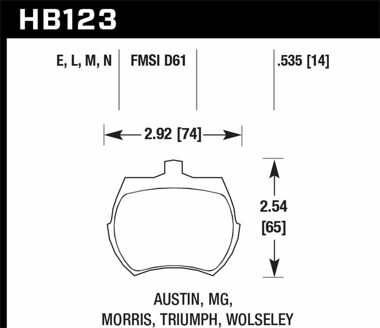 HAWK PERFORMANCE - HP Plus Disc Brake Pad (Front) - HWK HB123N.535