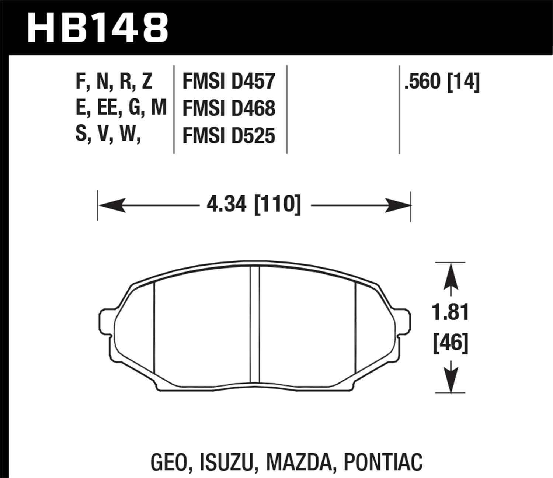 HAWK PERFORMANCE - Performance Ceramic Disc Brake Pad (Front) - HWK HB148Z.560