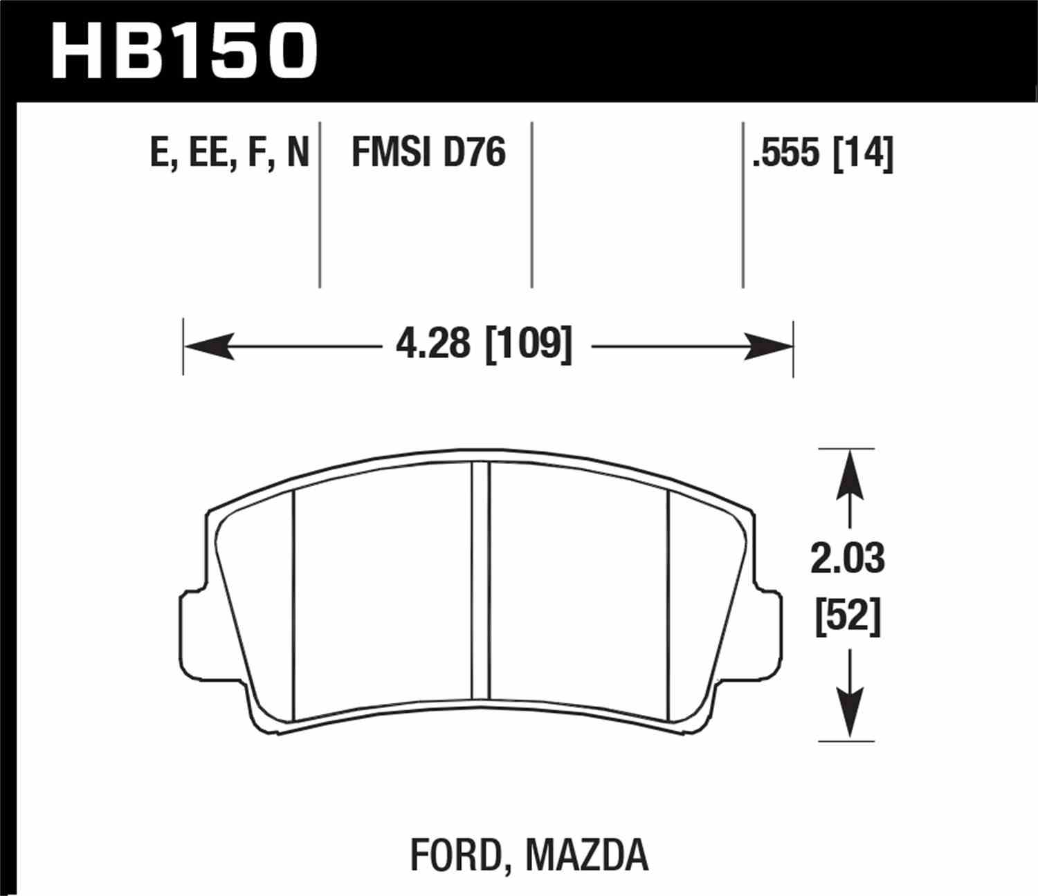 HAWK PERFORMANCE - HP Plus Disc Brake Pad (Front) - HWK HB150N.555