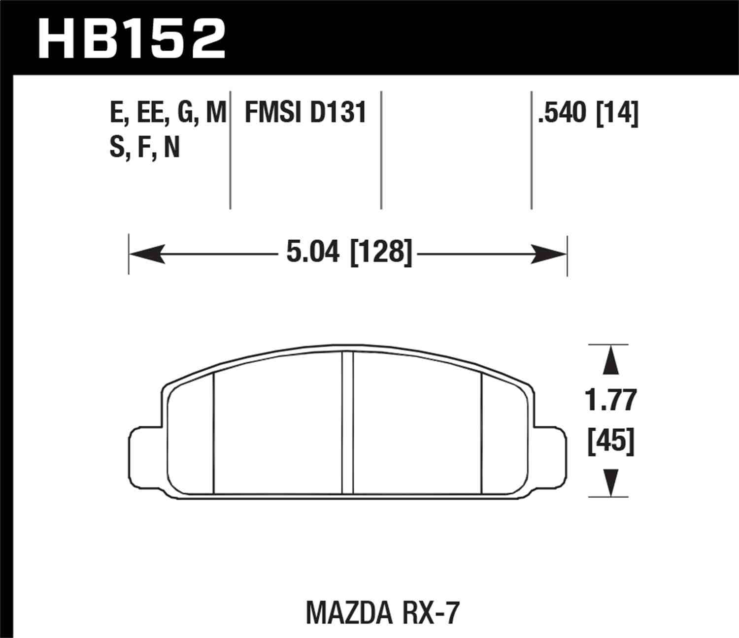 HAWK PERFORMANCE - HP Plus Disc Brake Pad (Front) - HWK HB152N.540
