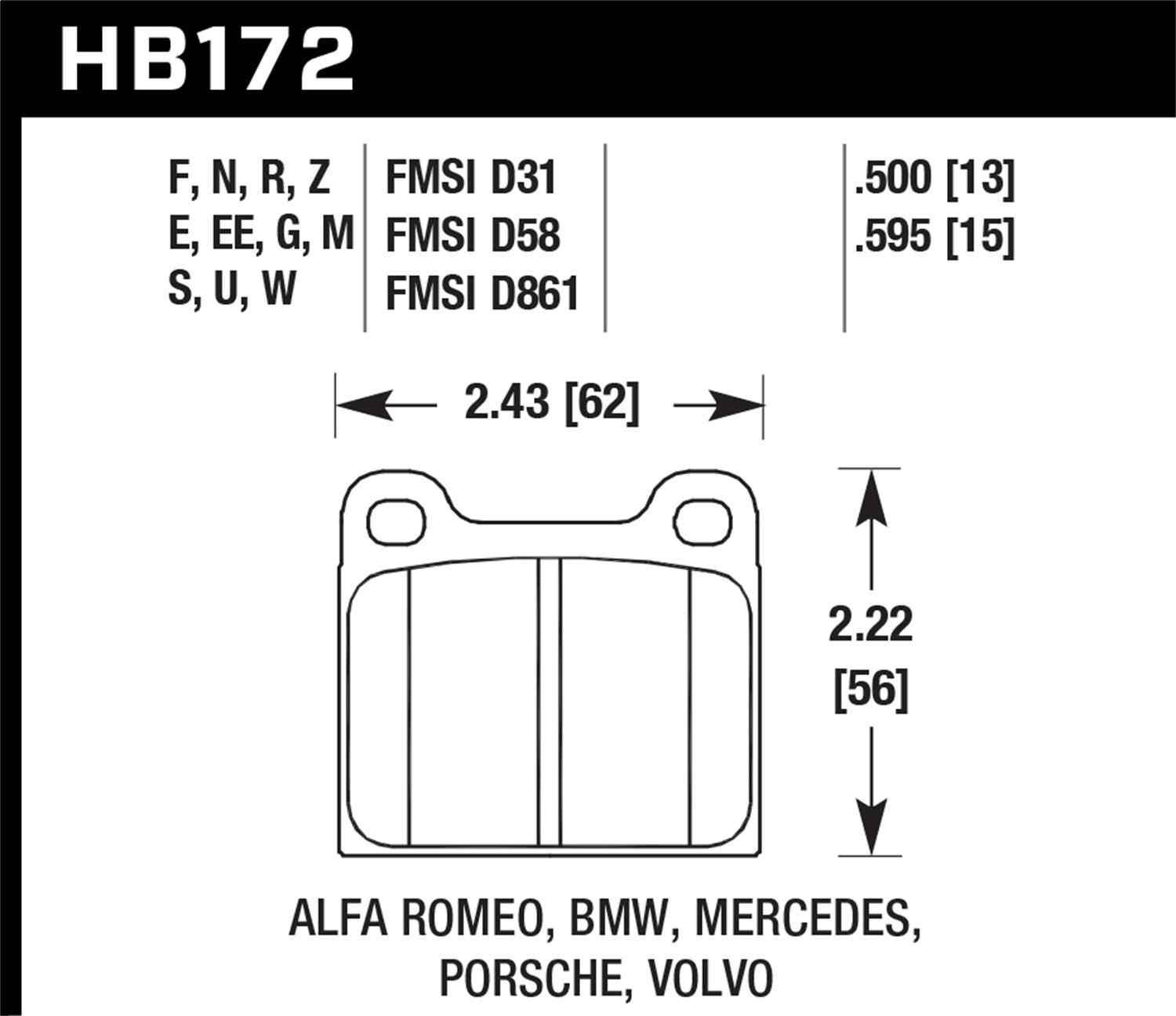 HAWK PERFORMANCE - HPS Performance Street Disc Brake Pad - HWK HB172F.595