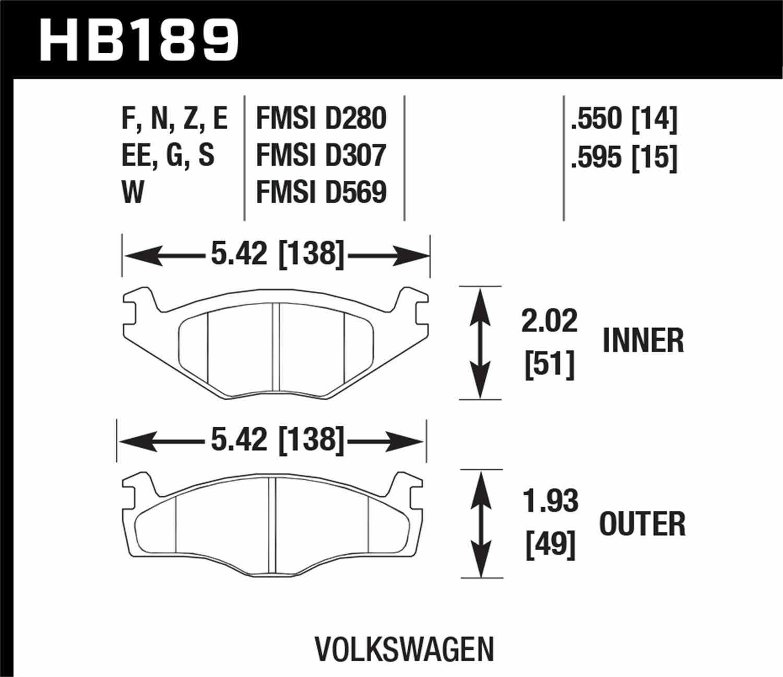 HAWK PERFORMANCE - Blue 9012 Disc Brake Pad (Front) - HWK HB189E.595