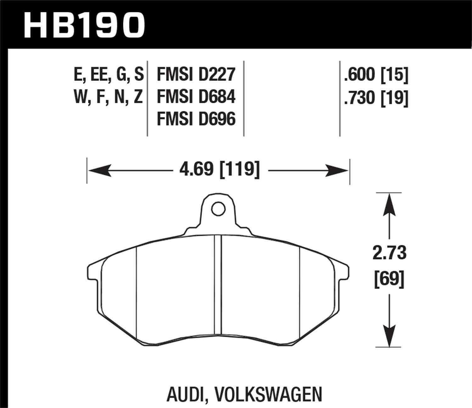 HAWK PERFORMANCE - DTC-60 Disc Brake Pad (Front) - HWK HB190G.730