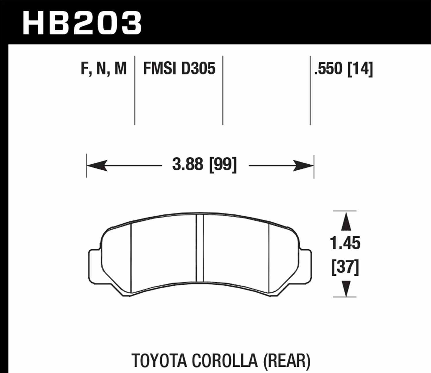 HAWK PERFORMANCE - HP Plus Disc Brake Pad (Rear) - HWK HB203N.550