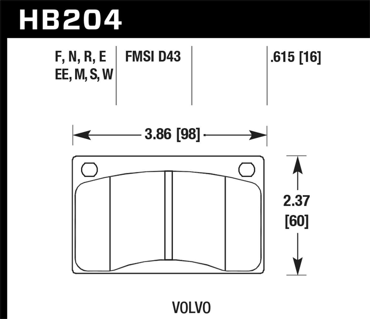 HAWK PERFORMANCE - Performance Ceramic Disc Brake Pad (Front) - HWK HB204Z.615