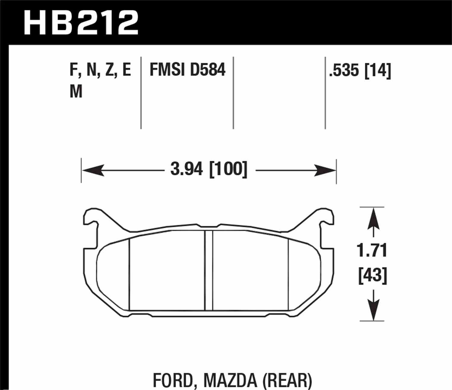 HAWK PERFORMANCE - HP Plus Disc Brake Pad (Rear) - HWK HB212N.535