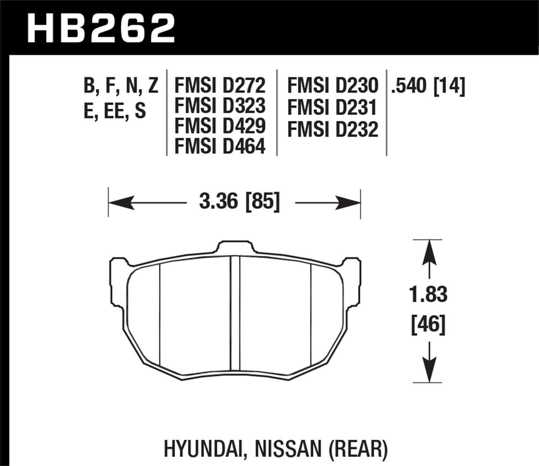 HAWK PERFORMANCE - Blue 9012 Disc Brake Pad (Rear) - HWK HB262E.540