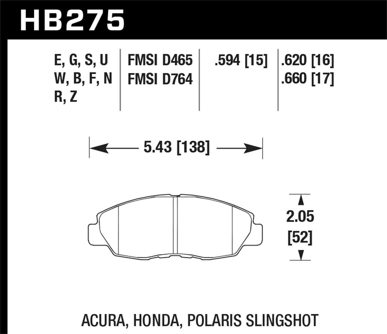 HAWK PERFORMANCE - HT-10 Disc Brake Pad - HWK HB275S.594