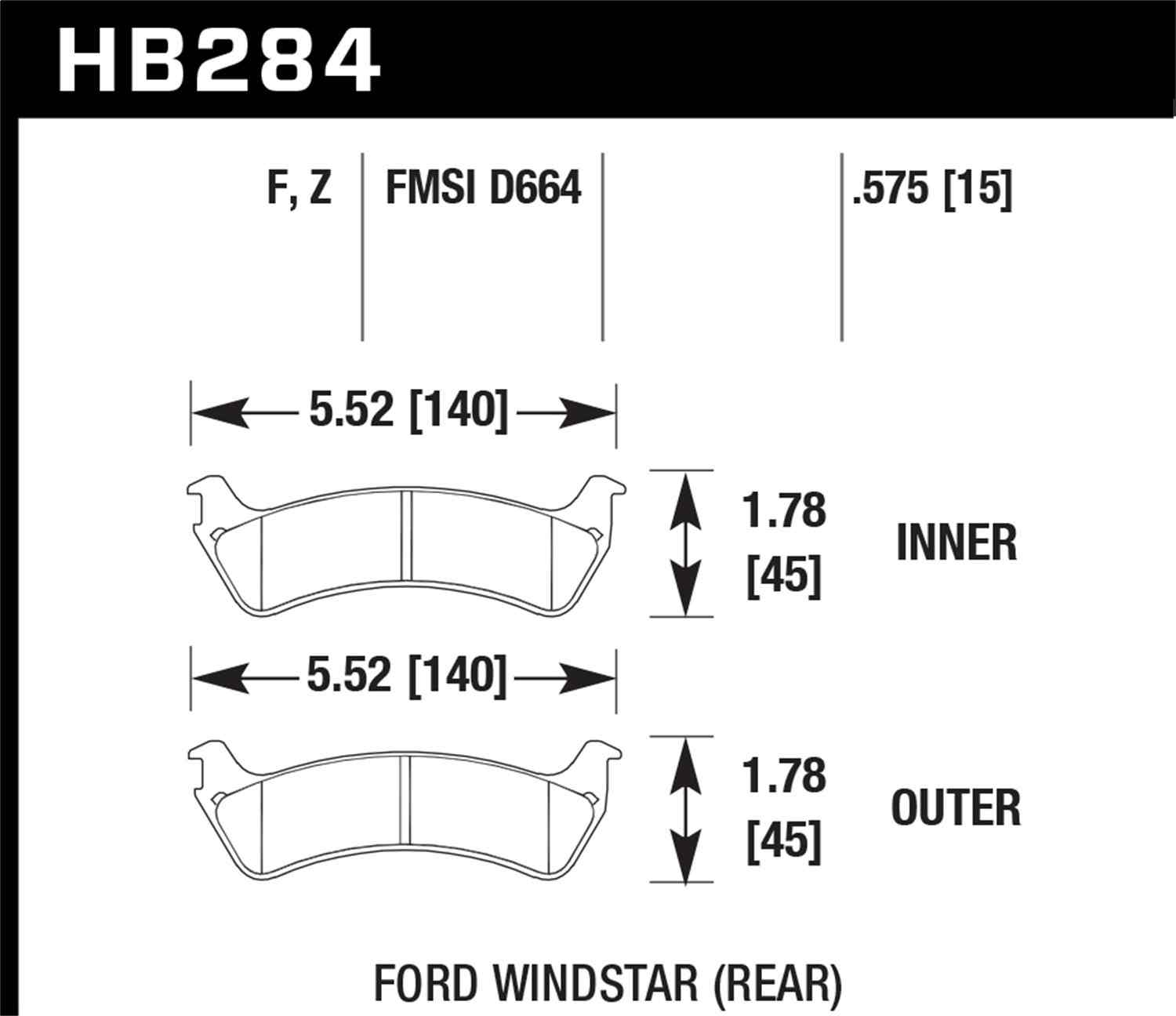 HAWK PERFORMANCE - Performance Ceramic Disc Brake Pad (Rear) - HWK HB284Z.575