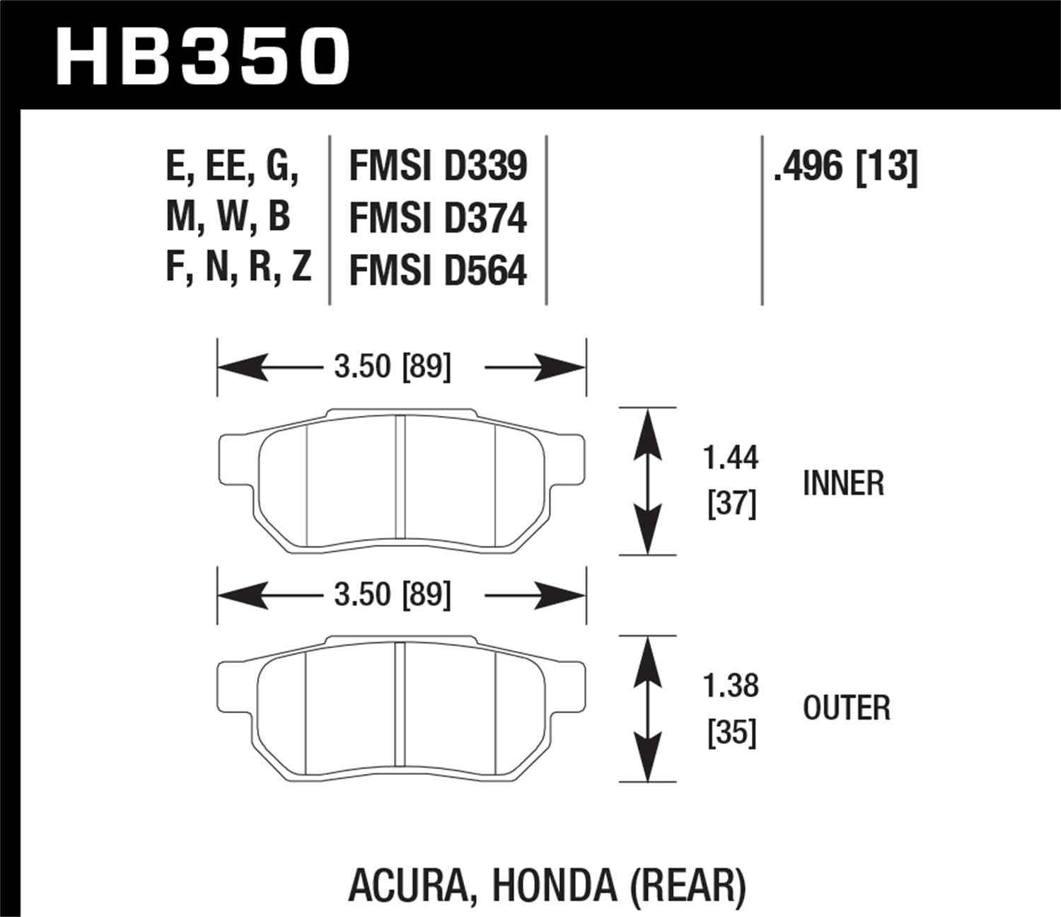 HAWK PERFORMANCE - HPS Performance Street Disc Brake Pad (Rear) - HWK HB350F.496
