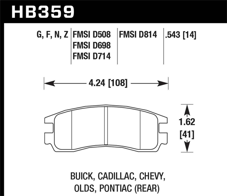 HAWK PERFORMANCE - HP Plus Disc Brake Pad (Rear) - HWK HB359N.543