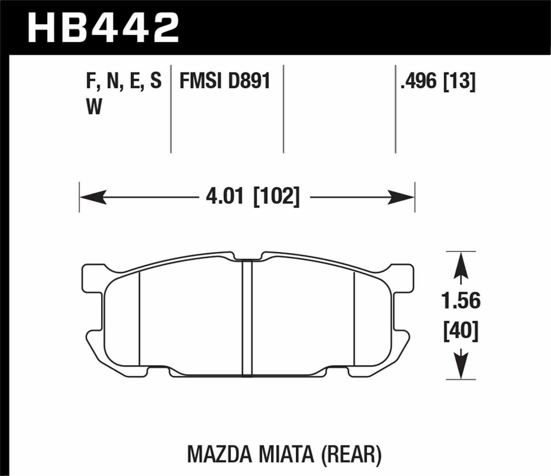 HAWK PERFORMANCE - DTC-30 Disc Brake Pad (Rear) - HWK HB442W.496