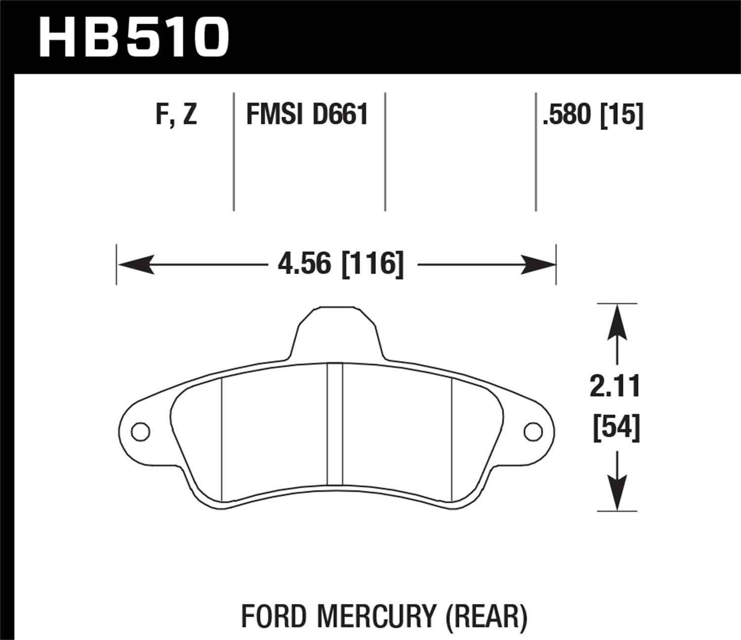 HAWK PERFORMANCE - HPS Performance Street Disc Brake Pad (Rear) - HWK HB510F.580