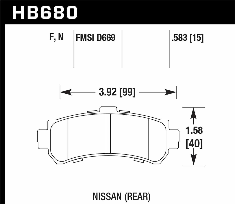 HAWK PERFORMANCE - HP Plus Disc Brake Pad (Rear) - HWK HB680N.583