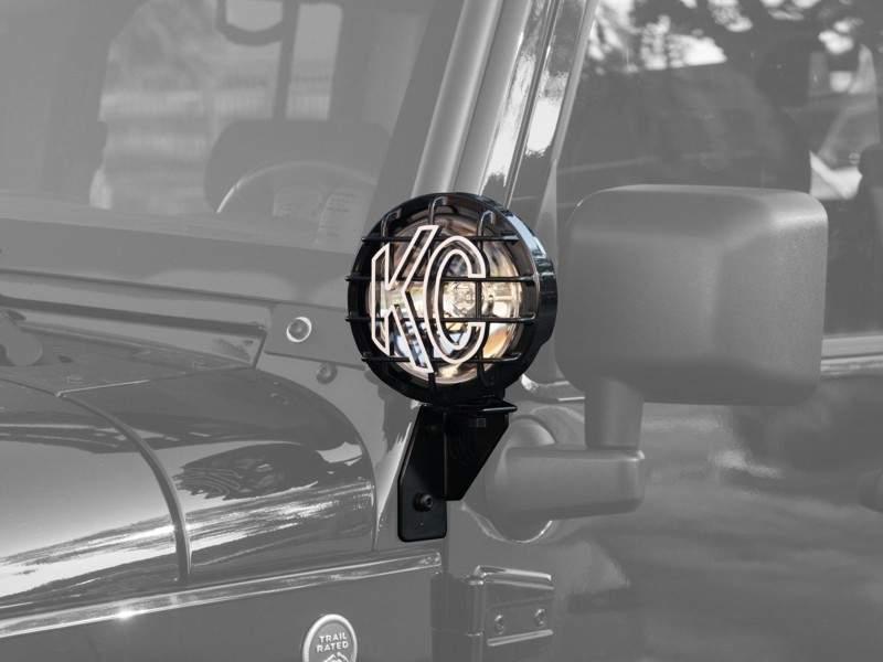 KC HILITES DRIVING LIGHT SYSTEMS - Windshield Side Mount Light Bracket JK - Black - KCH 7317