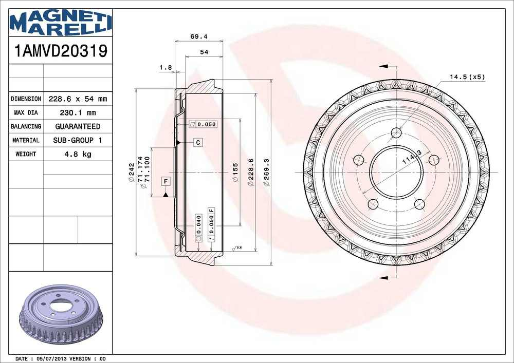 MAGNETI MARELLI OFFERED BY MOPAR - OE Replacement Brake Drum - MGM 1AMVD20319