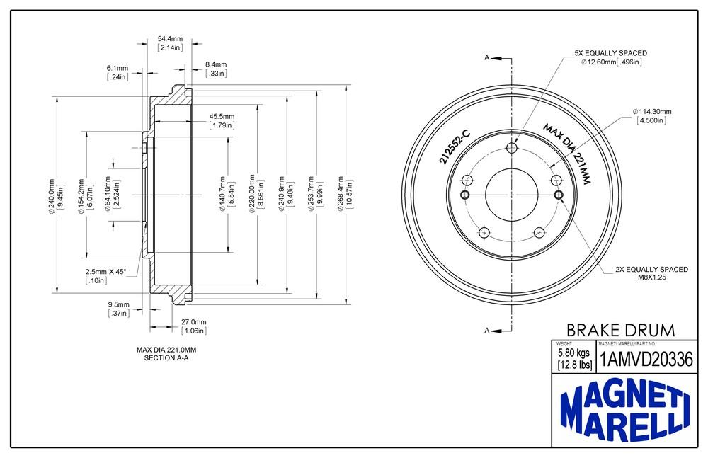 MAGNETI MARELLI OFFERED BY MOPAR - Magneti Marelli Brake Drum - MGM 1AMVD20336