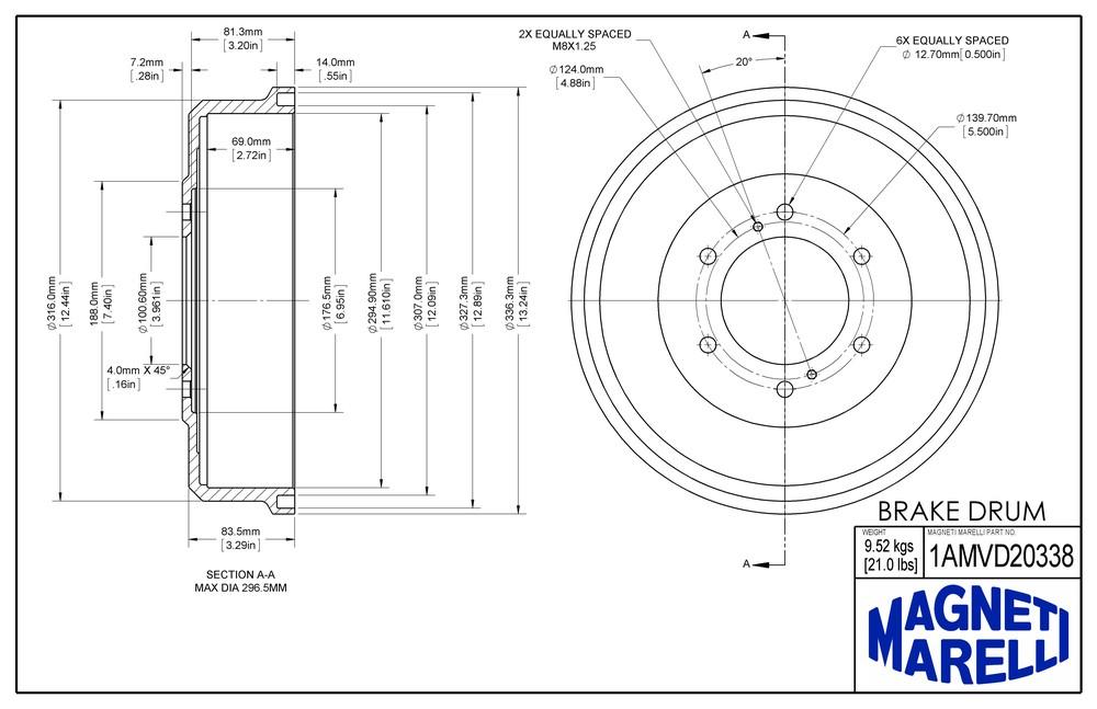 MAGNETI MARELLI OFFERED BY MOPAR - Magneti Marelli Brake Drum - MGM 1AMVD20338