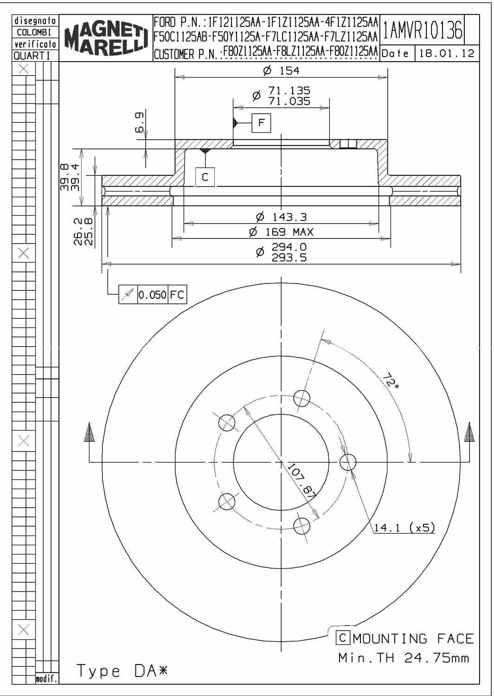 MAGNETI MARELLI OFFERED BY MOPAR - Magneti Marelli Brake Rotor - MGM 1AMVR10136