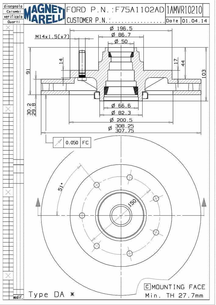 MAGNETI MARELLI OFFERED BY MOPAR - Magneti Marelli Brake Rotor & Hub Assy - MGM 1AMVR10210