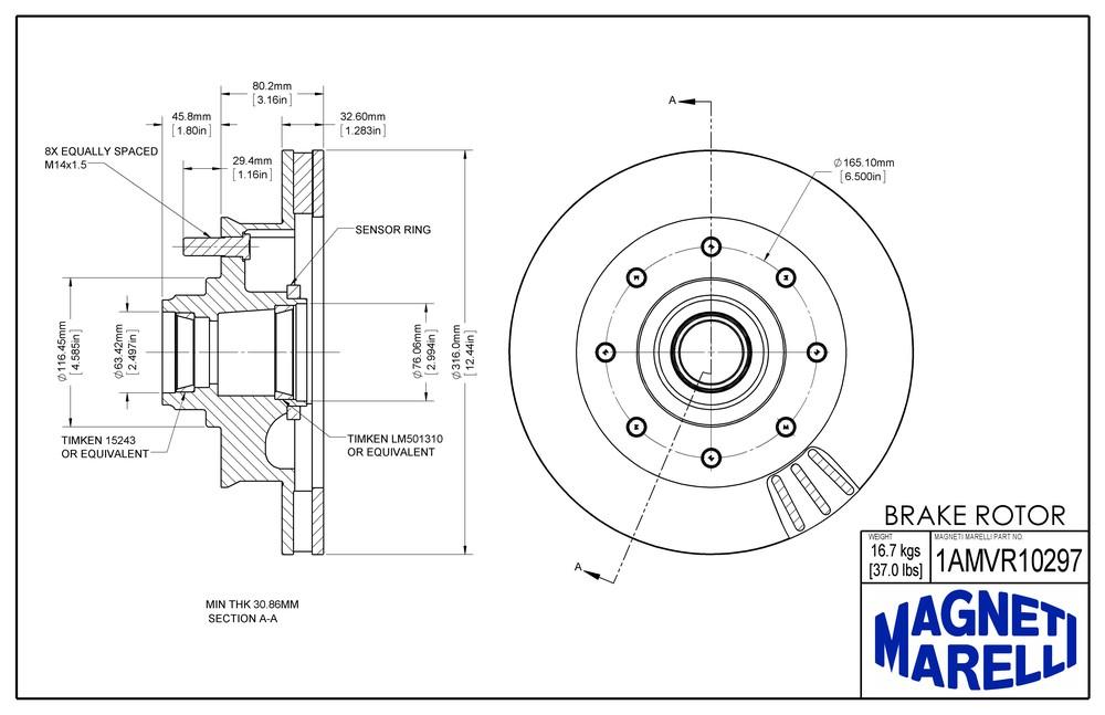 MAGNETI MARELLI OFFERED BY MOPAR - Magneti Marelli Brake Rotor & Hub Assy - MGM 1AMVR10297