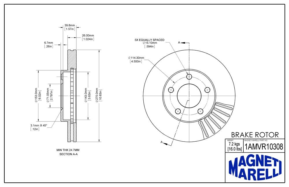 MAGNETI MARELLI OFFERED BY MOPAR - Magneti Marelli Brake Rotor (Front) - MGM 1AMVR10308