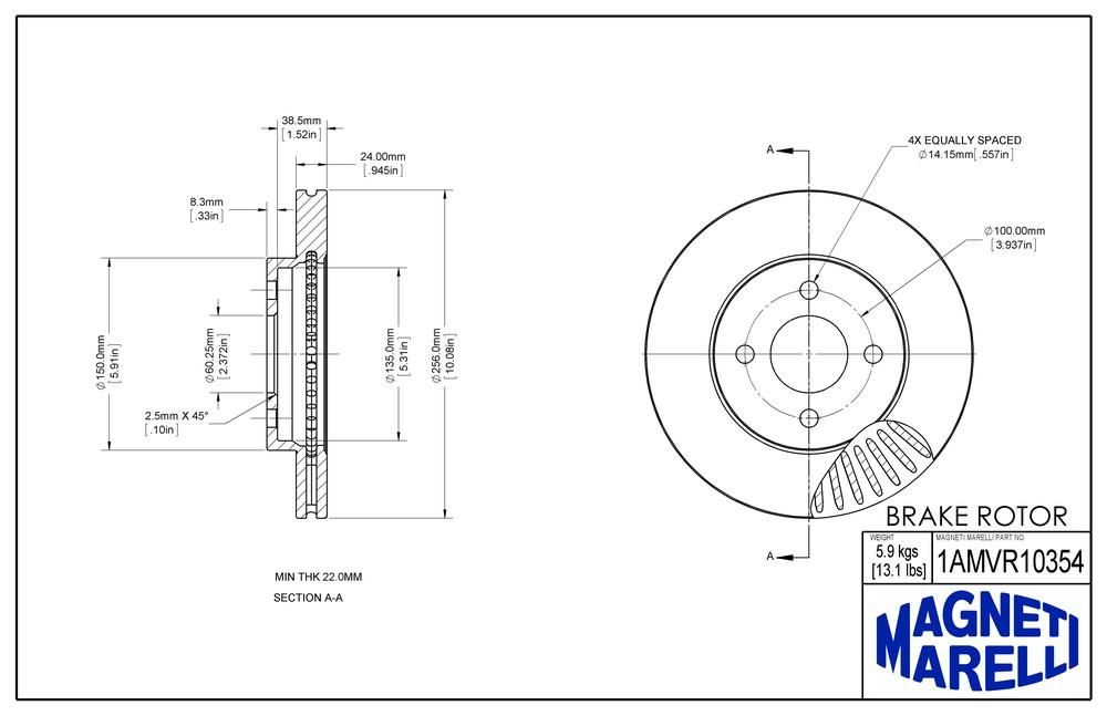 MAGNETI MARELLI OFFERED BY MOPAR - Magneti Marelli Brake Rotor - MGM 1AMVR10354