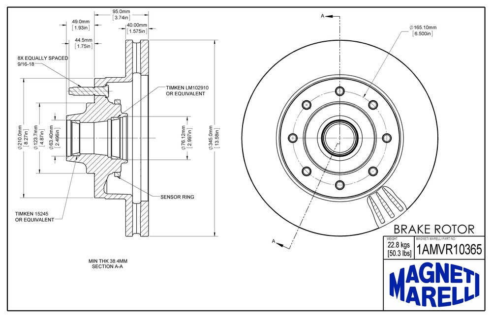 MAGNETI MARELLI OFFERED BY MOPAR - Magneti Marelli Brake Rotor & Hub Assy (Front) - MGM 1AMVR10365