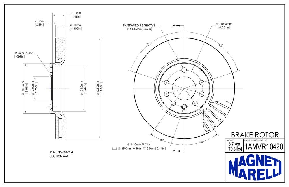 MAGNETI MARELLI OFFERED BY MOPAR - Magneti Marelli Brake Rotor - MGM 1AMVR10420