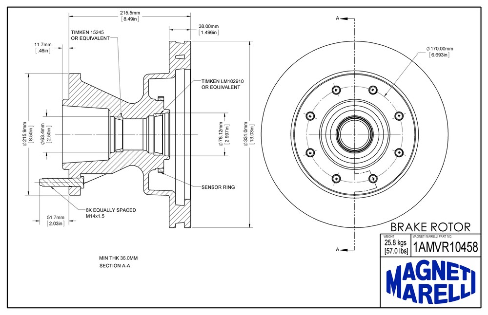 MAGNETI MARELLI OFFERED BY MOPAR - Magneti Marelli Brake Rotor & Hub Assy - MGM 1AMVR10458