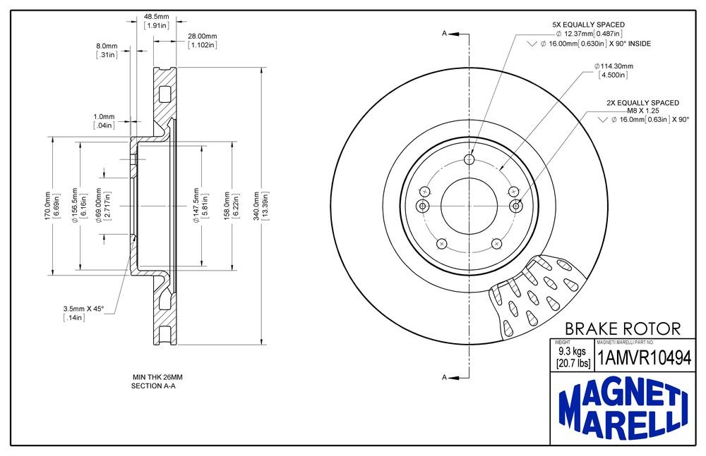 MAGNETI MARELLI OFFERED BY MOPAR - Magneti Marelli Brake Rotor - MGM 1AMVR10494