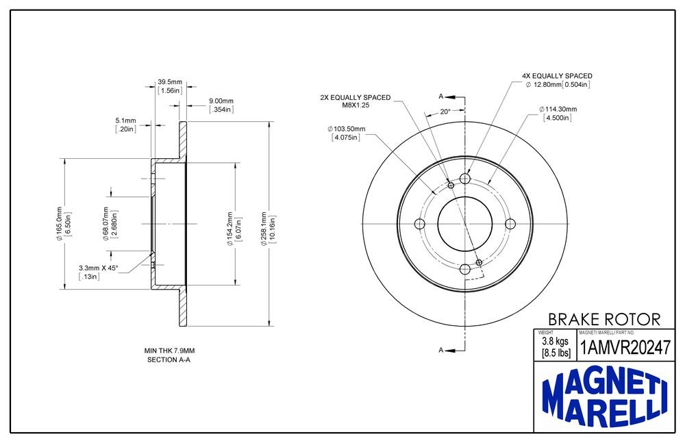 MAGNETI MARELLI OFFERED BY MOPAR - Magneti Marelli Brake Rotor - MGM 1AMVR20247