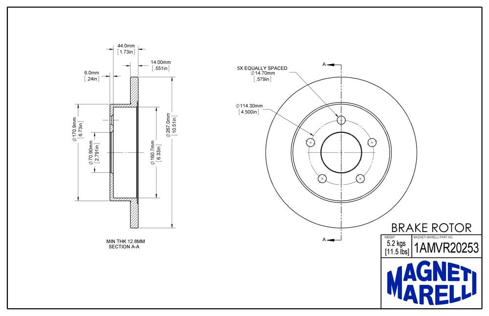 MAGNETI MARELLI OFFERED BY MOPAR - Magneti Marelli Brake Rotor (Rear) - MGM 1AMVR20253