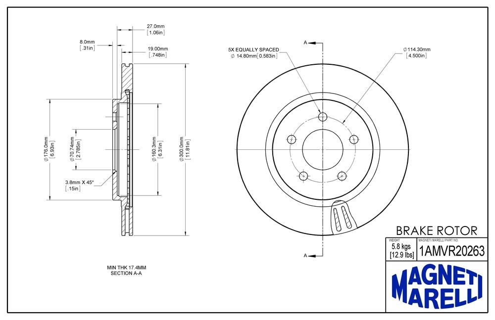 MAGNETI MARELLI OFFERED BY MOPAR - Magneti Marelli Brake Rotor (Rear) - MGM 1AMVR20263