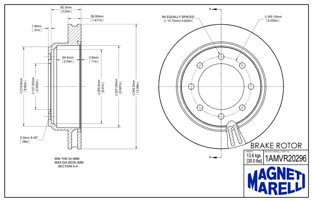 MAGNETI MARELLI OFFERED BY MOPAR - Magneti Marelli Brake Rotor (Rear) - MGM 1AMVR20296