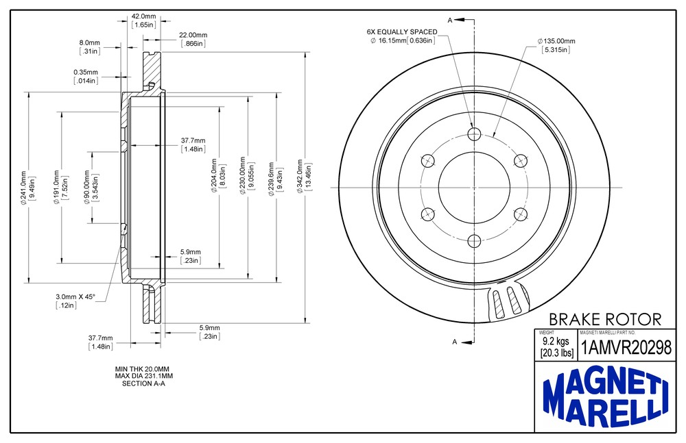 MAGNETI MARELLI OFFERED BY MOPAR - Magneti Marelli Brake Rotor (Rear) - MGM 1AMVR20298