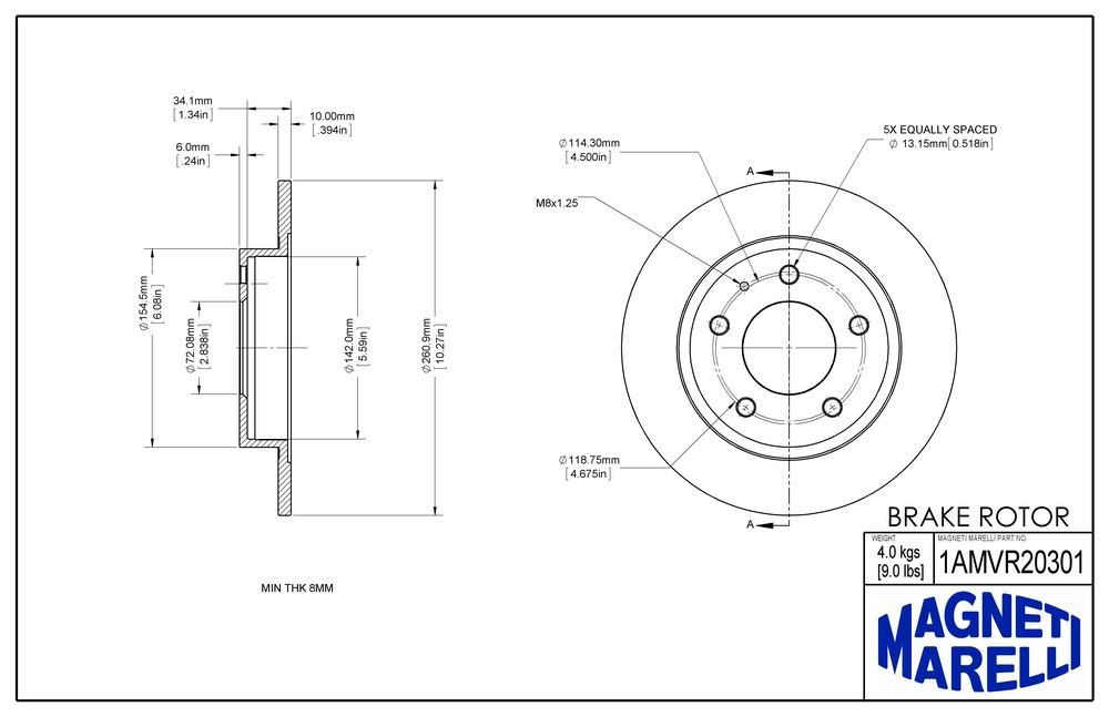 MAGNETI MARELLI OFFERED BY MOPAR - Magneti Marelli Brake Rotor (Rear) - MGM 1AMVR20301