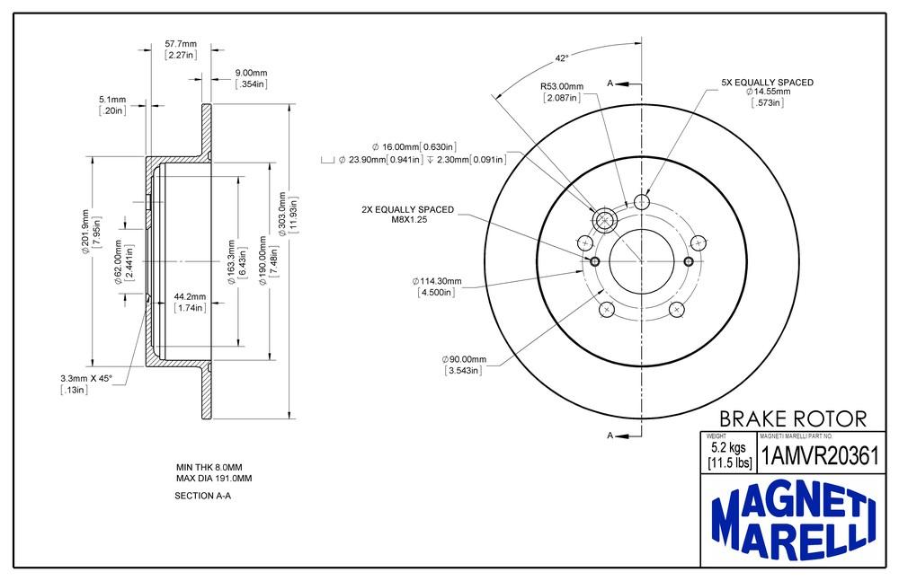 MAGNETI MARELLI OFFERED BY MOPAR - Magneti Marelli Brake Rotor - MGM 1AMVR20361