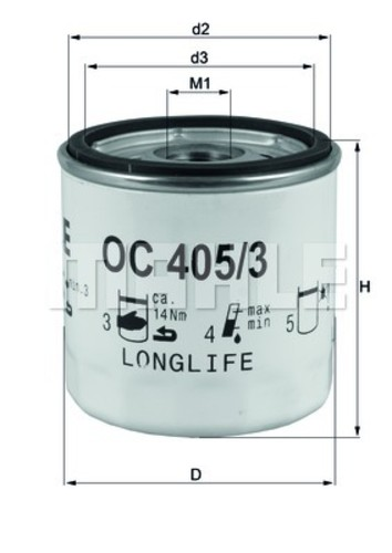 MAHLE ORIGINAL - Engine Oil Filter - MHL OC 405/3