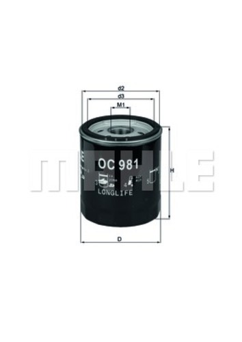 MAHLE ORIGINAL - Engine Oil Filter - MHL OC 981