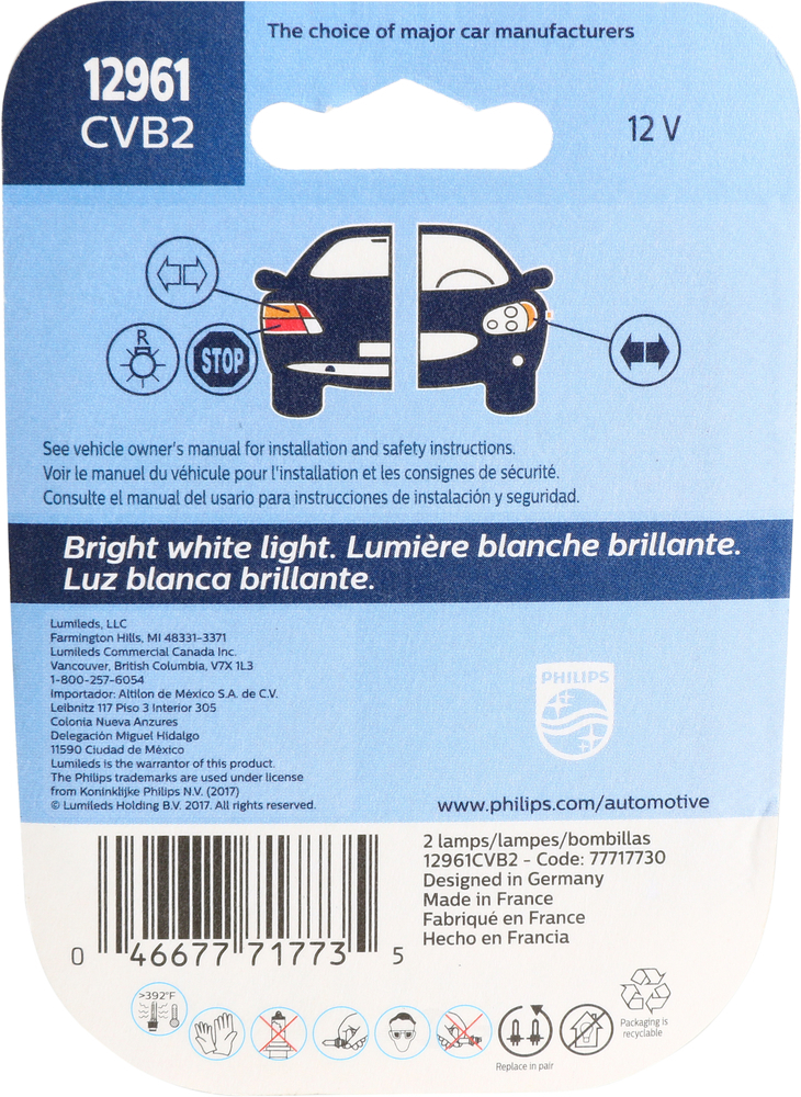 PHILIPS LIGHTING COMPANY - Crystalvision Ultra - Twin Blister Pack - PLP 12961CVB2