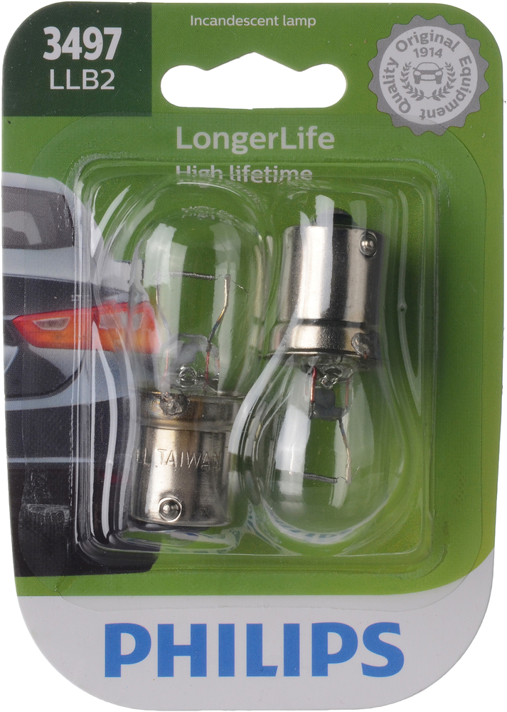 PHILIPS LIGHTING COMPANY - LongerLife - Twin Blister Pack Center High Mount Stop Light Bulb - PLP 3497LLB2