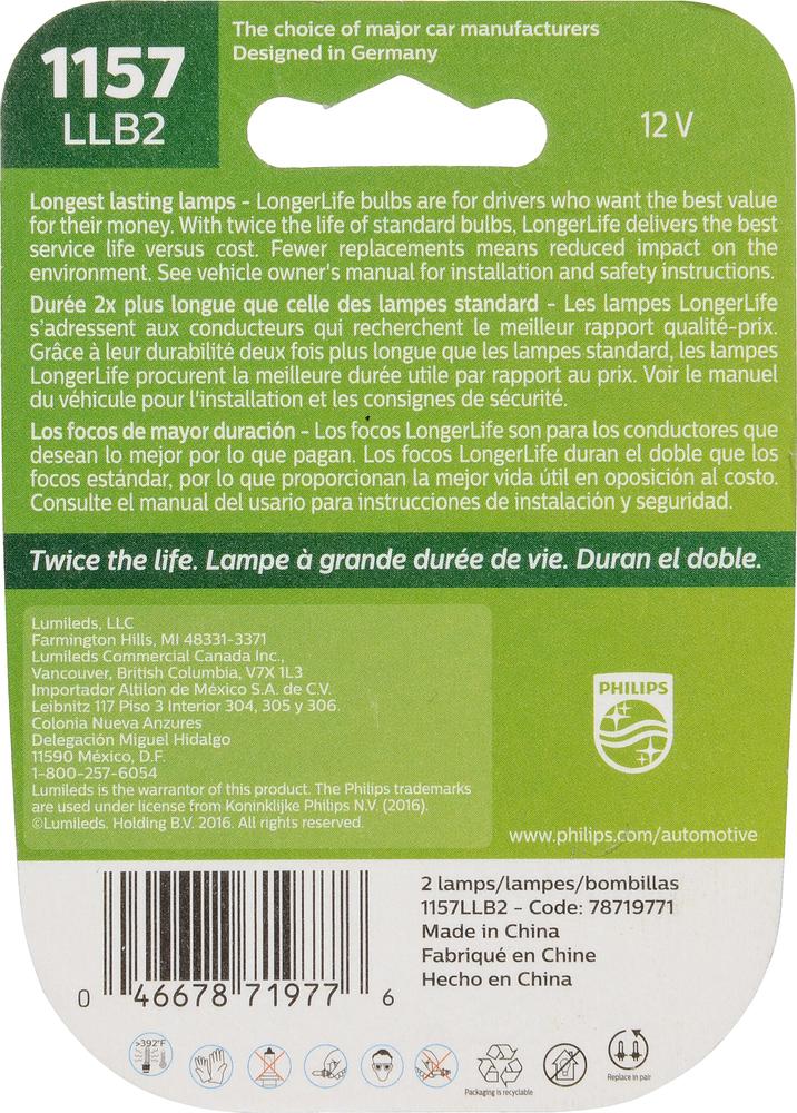 PHILIPS LIGHTING COMPANY - Longerlife - Twin Blister Pack - PLP 1157LLB2