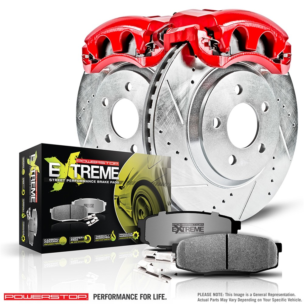 POWER STOP - Z26 Extreme Street Warrior 1-Click Brake Kit w/Calipers (Front) - PWS KC2553-26