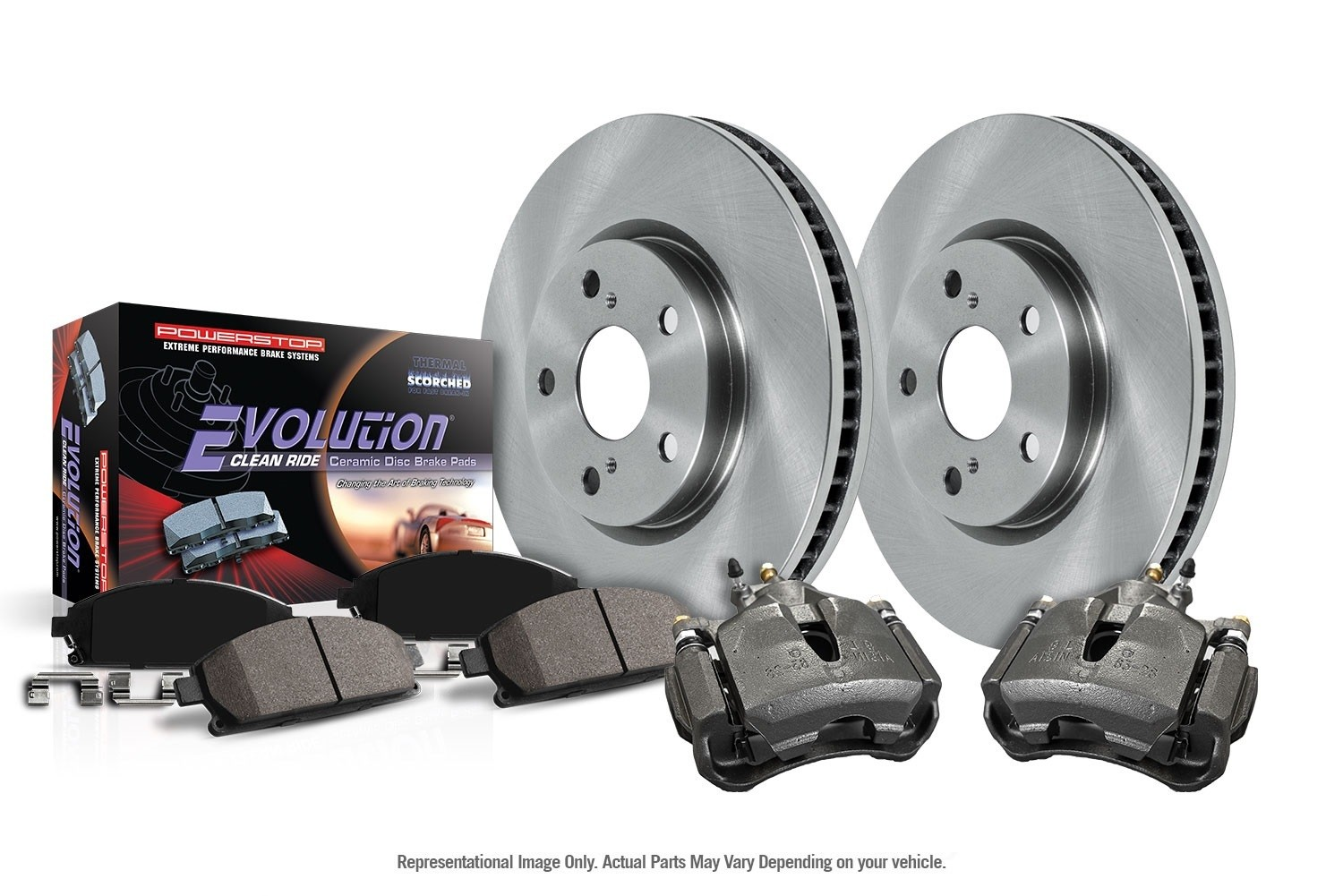 POWER STOP - Autospecialty By Power Stop 1-Click OE Replacement Brake Kit w/Calipers (Front) - PWS KCOE2140